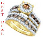 Cognac Diamond Bridal Set 10K Yellow Gold 1.70 cts. GD-82370