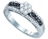 Black Diamond Flower Ring 10K White Gold 0.48 cts. GD-83307