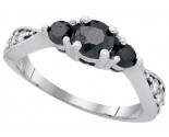 Black Diamond Bridal Ring 10K White Gold 1.01 cts. GD-83379
