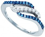 Blue Diamond Fashion Ring 10K White Gold 0.33 cts. GD-83394