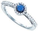 Blue Diamond Bridal Ring 10K White Gold 0.42 cts. GD-83995