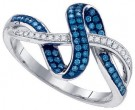 Blue Diamond Fashion Ring 10K White Gold 0.25 cts. GD-84214
