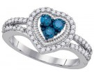 Blue Diamond Heart Ring 10K White Gold 0.77 cts. GD-85476