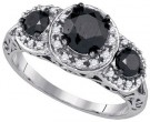 Black Diamond Fashion Ring 10K White Gold 2.04 cts. GD-85654