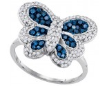 Ladies Diamond Butterfly Ring 10K White Gold 0.71 cts. GD-85679