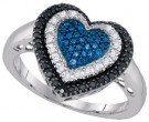 Blue Diamond Heart Ring 10K White Gold 0.27 cts. GD-85724