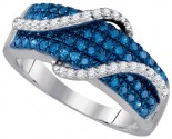 Blue Diamond Fashion Ring 10K White Gold 0.78 cts. GD-85729