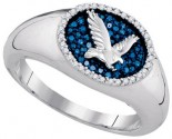 Blue Diamond Eagle Ring 10K White Gold 0.27 cts. GD-85741
