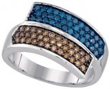 Blue Diamond Fashion Ring 10K White Gold 0.80 cts. GD-85749