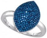 Blue Diamond Fashion Ring 10K White Gold 0.57 cts. GD-85753
