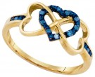 Blue Diamond Heart Ring 10K Yellow Gold 0.10 cts. GD-86977
