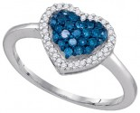 Blue Diamond Heart Ring 10K White Gold 0.33 cts. GD-87002