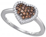Champagne Brown Heart Ring 10K White Gold 0.33 cts. GD-87003