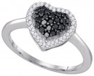 Black Diamond Heart Ring 10K White Gold 0.33 cts. GD-87004