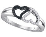 Black Diamond Heart Ring 10K White Gold 0.17 cts. GD-88574