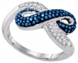 Blue Diamond Infinity Ring 10K White Gold 0.36 cts. GD-89191