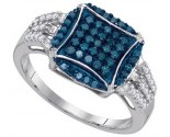Blue Diamond Fashion Ring 10K White Gold 0.45 cts. GD-89478