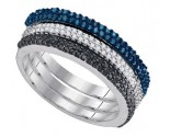Mix Color Diamond Fashion Ring 10K White Gold 0.63 cts. GD-90156