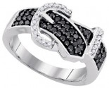 Black Diamond Buckle Belt Ring 10K White Gold 0.51 cts. GD-90480