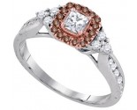 Cognac Diamond Bridal Ring 14K White Gold 0.63 cts. GD-91633