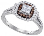 Cognac Diamond Bridal Ring 14K White Gold 0.64 cts. GD-91643
