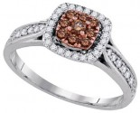 Cognac Diamond Bridal Ring 14K White Gold 0.51 cts. GD-91652