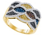 Mix Color Diamond Fashion Ring 10K Yellow Gold 0.75 cts. GD-91665