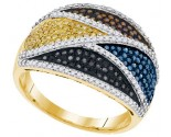 Mix Color Diamond Fashion Ring 10K Yellow Gold 0.75 cts. GD-91691