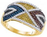 Mix Color Diamond Fashion Ring 10K Yellow Gold 0.75 cts. GD-91695