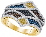 Mix Color Diamond Fashion Ring 10K Yellow Gold 0.75 cts. GD-91697