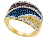 Mix Color Diamond Fashion Ring 10K Yellow Gold 0.75 cts. GD-91780