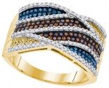 Mix Color Diamond Fashion Ring 10K Yellow Gold 0.75 cts. GD-91781