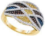 Mix Color Diamond Fashion Ring 10K Yellow Gold 0.75 cts. GD-91784