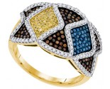 Mix Color Diamond Fashion Ring 10K Yellow Gold 0.75 cts. GD-91789