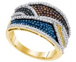 Mix Color Diamond Fashion Ring 10K Yellow Gold 0.75 cts. GD-91793