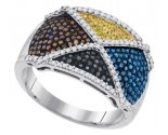 Mix Color Diamond Fashion Ring 10K White Gold 0.75 cts. GD-92034