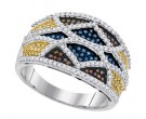 Mix Color Diamond Fashion Ring 10K White Gold 0.75 cts. GD-92035