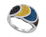 Mix Color Diamond Fashion Ring 10K White Gold 0.75 cts. GD-92482