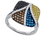Mix Color Diamond Fashion Ring 10K White Gold 1.10 cts. GD-92627