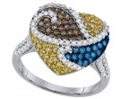 Mix Color Diamond Heart Ring 10K White Gold 1.07 cts. GD-92628