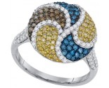 Mix Color Diamond Fashion Ring 10K White Gold 1.05 cts. GD-92629