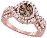 Brown Diamond Bridal Ring 14K Rose Gold 1.00 ct. GD-92663