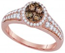Brown Diamond Bridal Ring 14K Rose Gold 0.75 cts. GD-92667