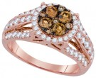 Brown Diamond Bridal Ring 14K Rose Gold 1.50 cts. GD-92669