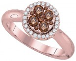 Brown Diamond Bridal Ring 14K Rose Gold 0.46 cts. GD-92671