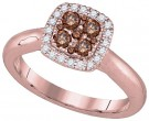 Brown Diamond Bridal Ring 14K Rose Gold 0.48 cts. GD-92672