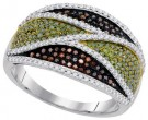 Mix Color Diamond Fashion Ring 10K White Gold 0.75 cts. GD-93158
