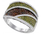 Mix Color Diamond Fashion Ring 10K White Gold 0.75 cts. GD-93159