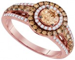 Brown Diamond Bridal Ring 14K Rose Gold 1.33 cts. GD-94288