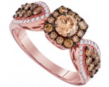 Cognac Diamond Bridal Ring 14K Rose Gold 1.42 cts. GD-94290